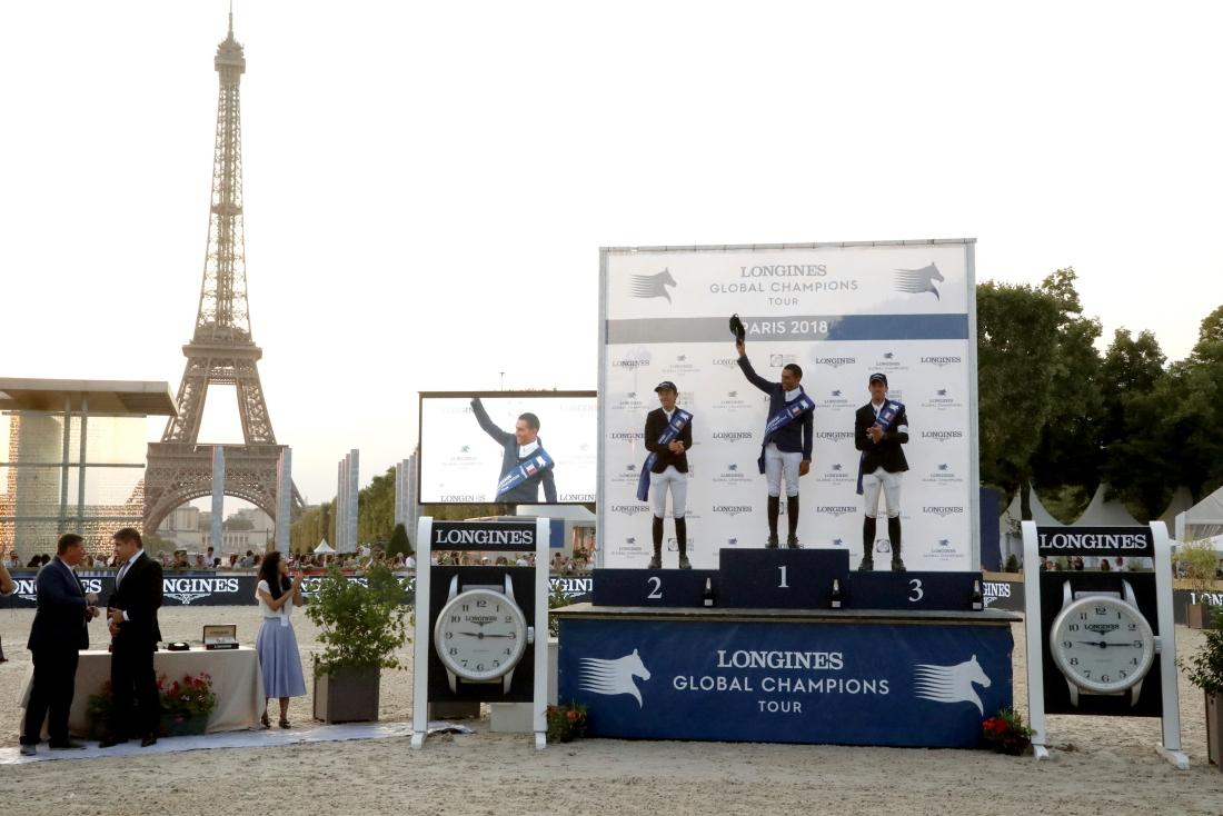 The podium of the LGCT Grand Prix of Paris: 1st Sameh El Dahan (EGY), 2nd Bertram Allen (IRL) and 3rd Harrie Smolders (NED)